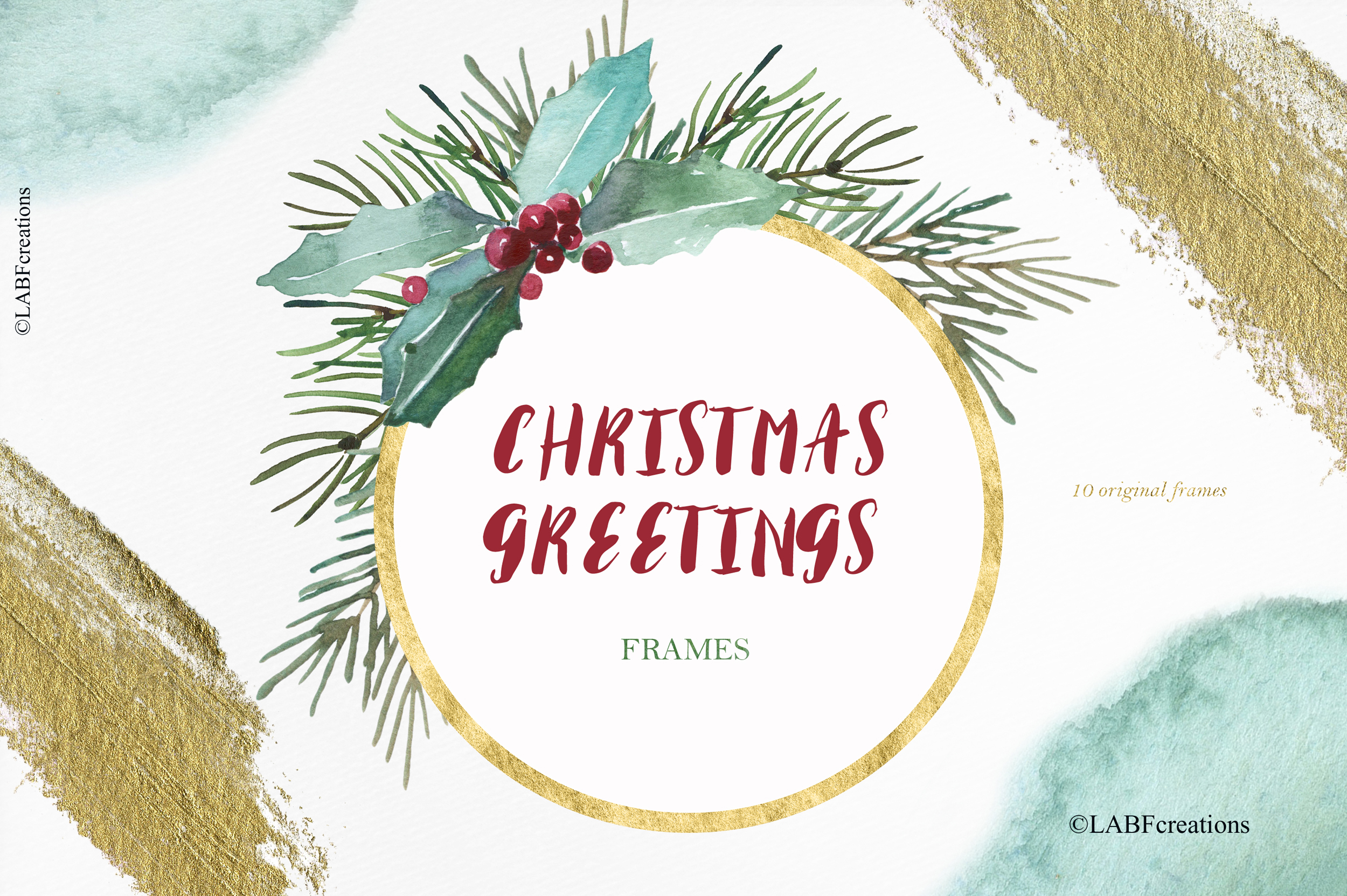 Christmas greetings. Hand drawn watercolor collection. example image 8
