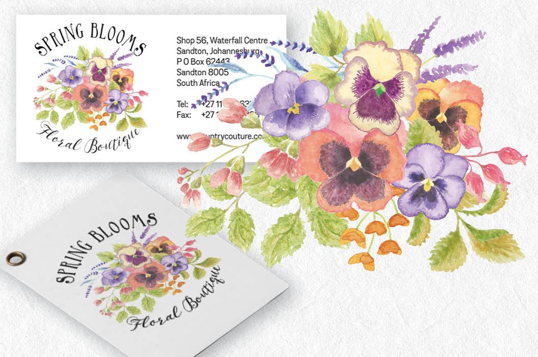 Colorful pansies: sprays and patterns in watercolor example image 2