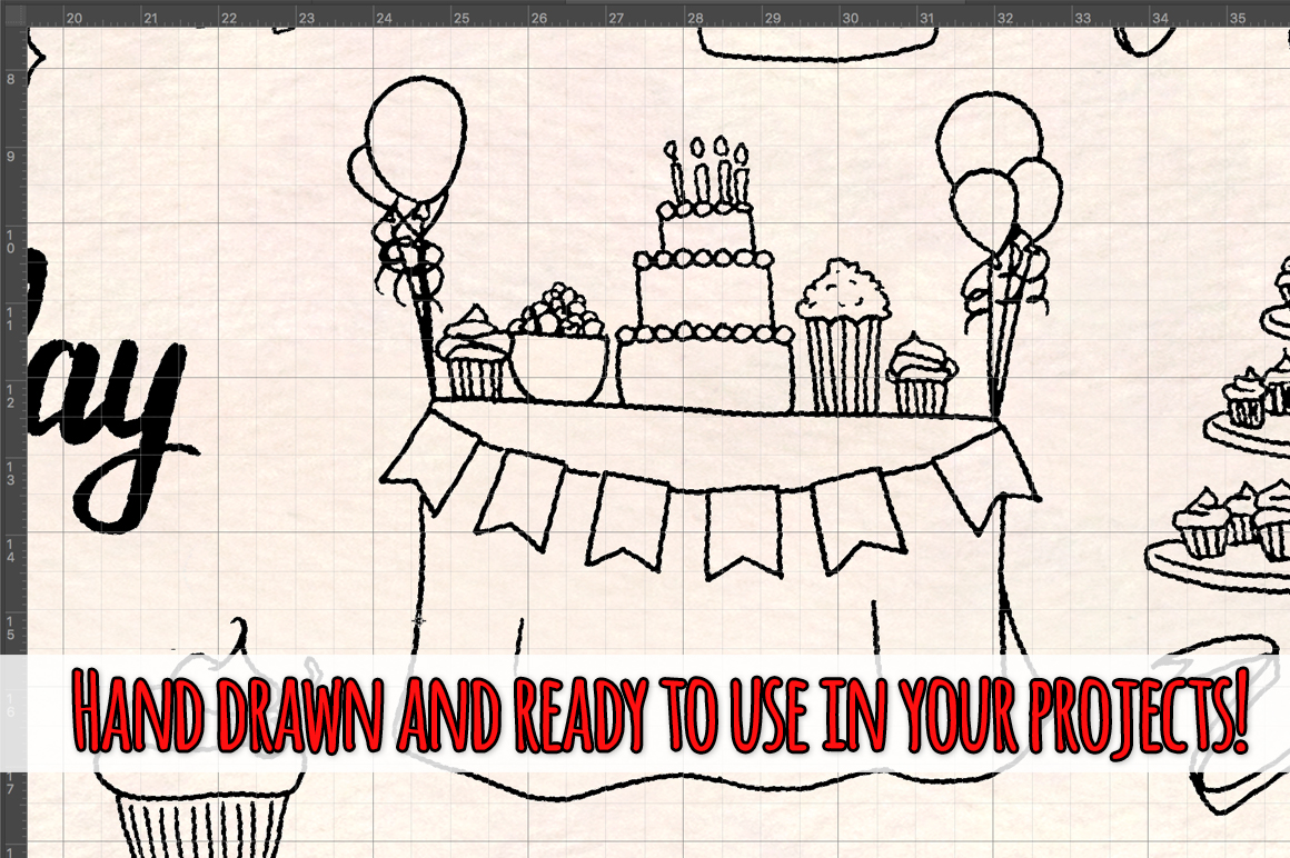 55 Birthday Party Vector Ink Sketches example image 3