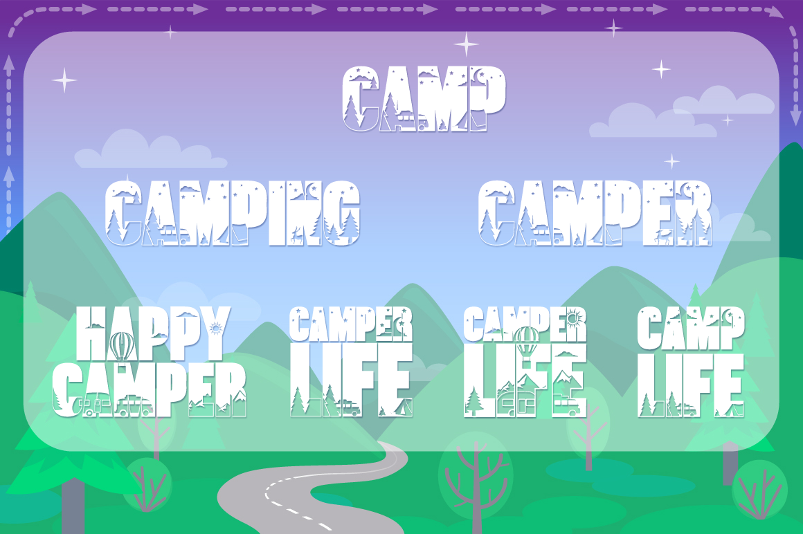 Let's Go Camping | Camping & Hiking Font with Extras example image 5