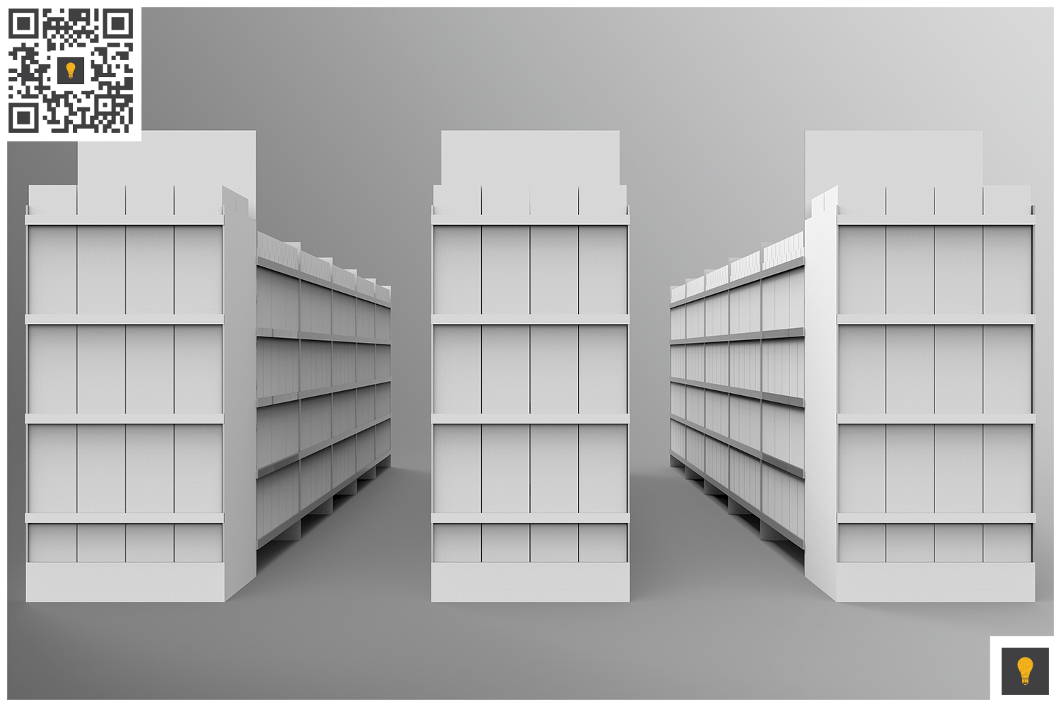 Aisle with Gondola Store 3D Render example image 2