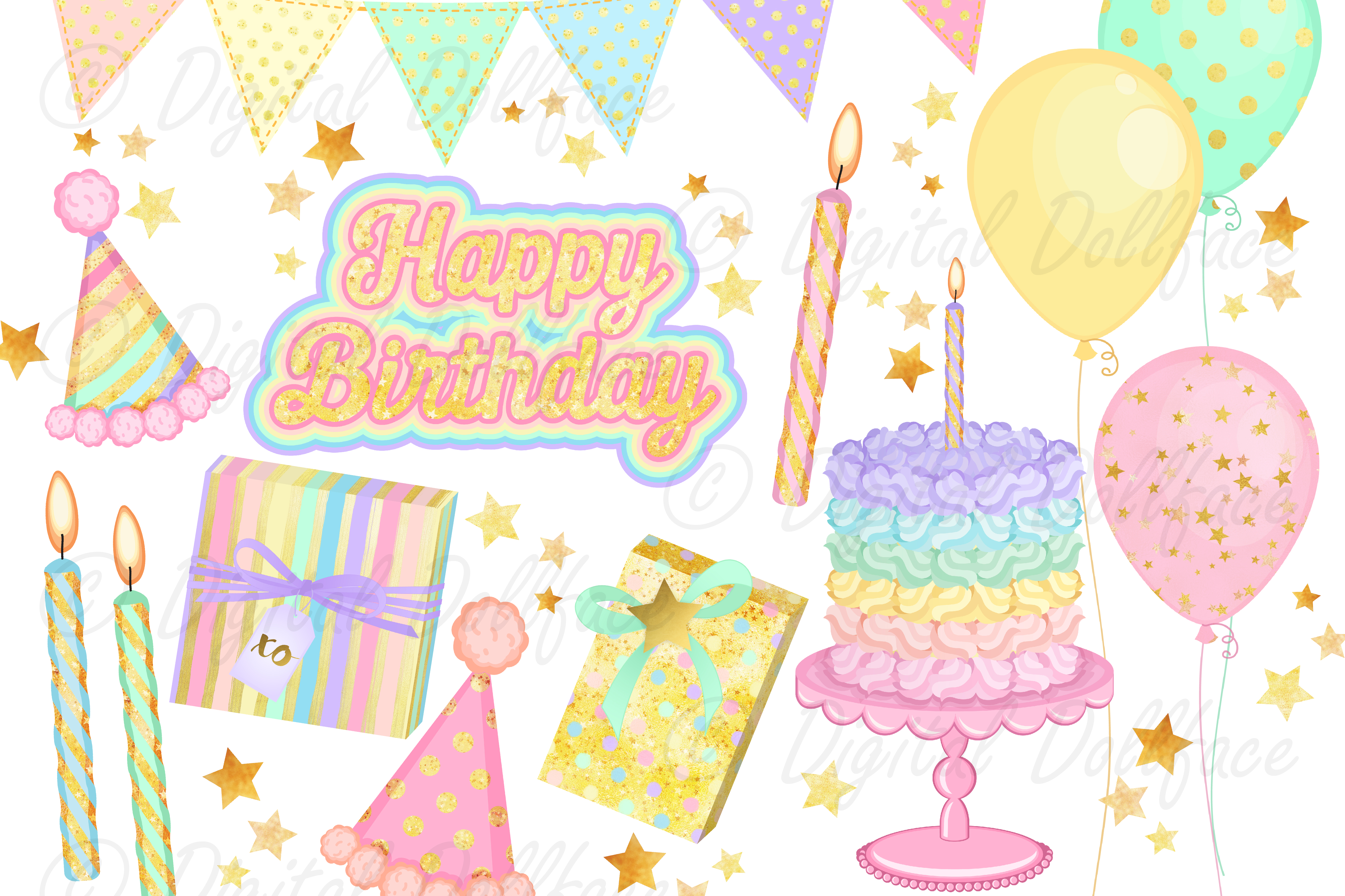 Happy Birthday Clipart and Digital Papers / Pastel Rainbow Party Graphics example image 1