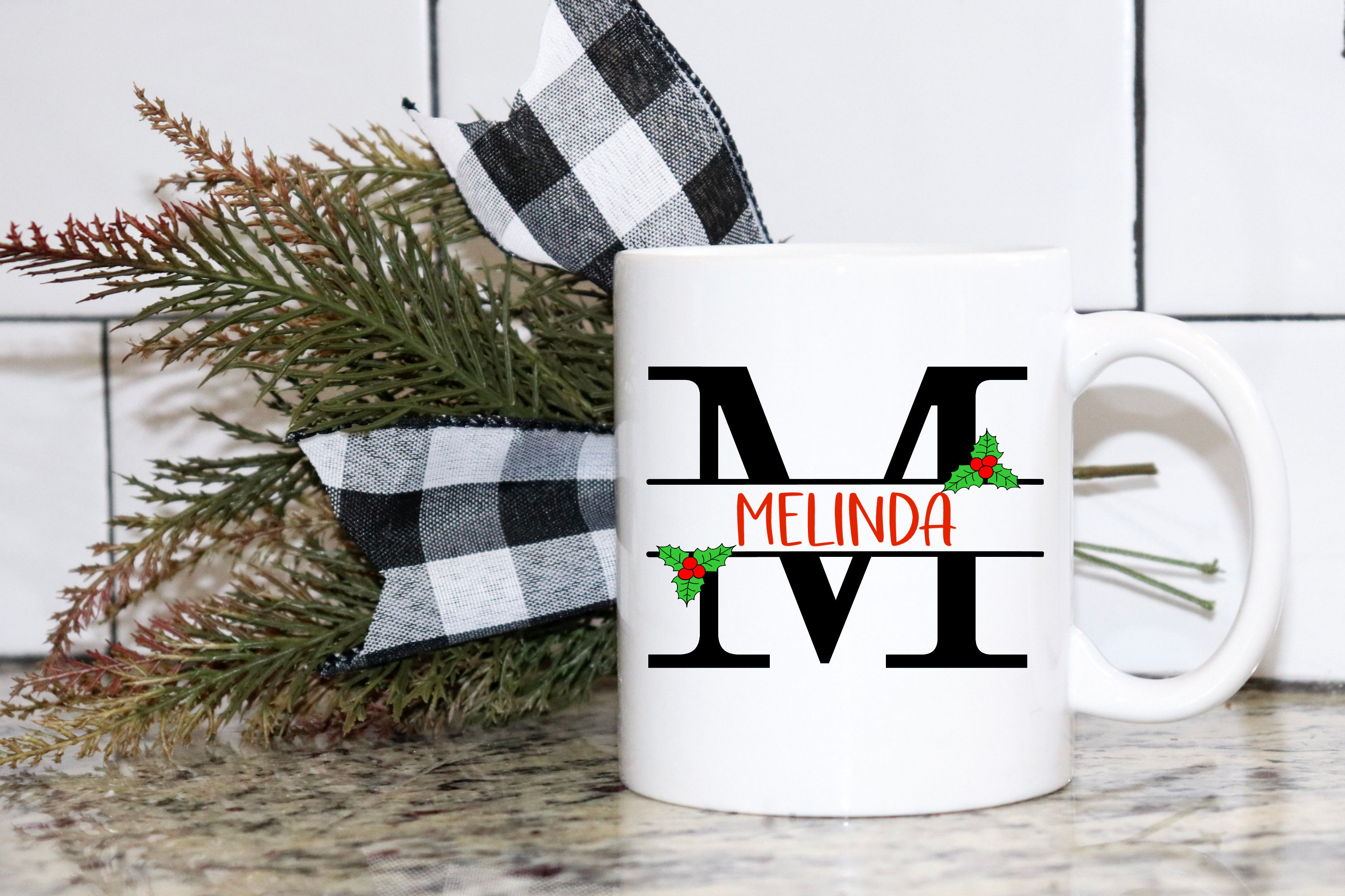 Split Letters A-Z - 26 Christmas split monograms with holly example image 4