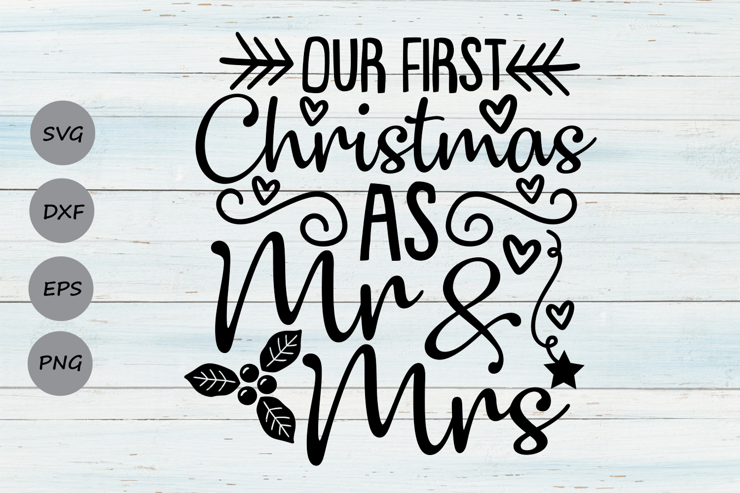 Our First Christmas As Mr And Mrs Svg, Christmas Svg. example image 1