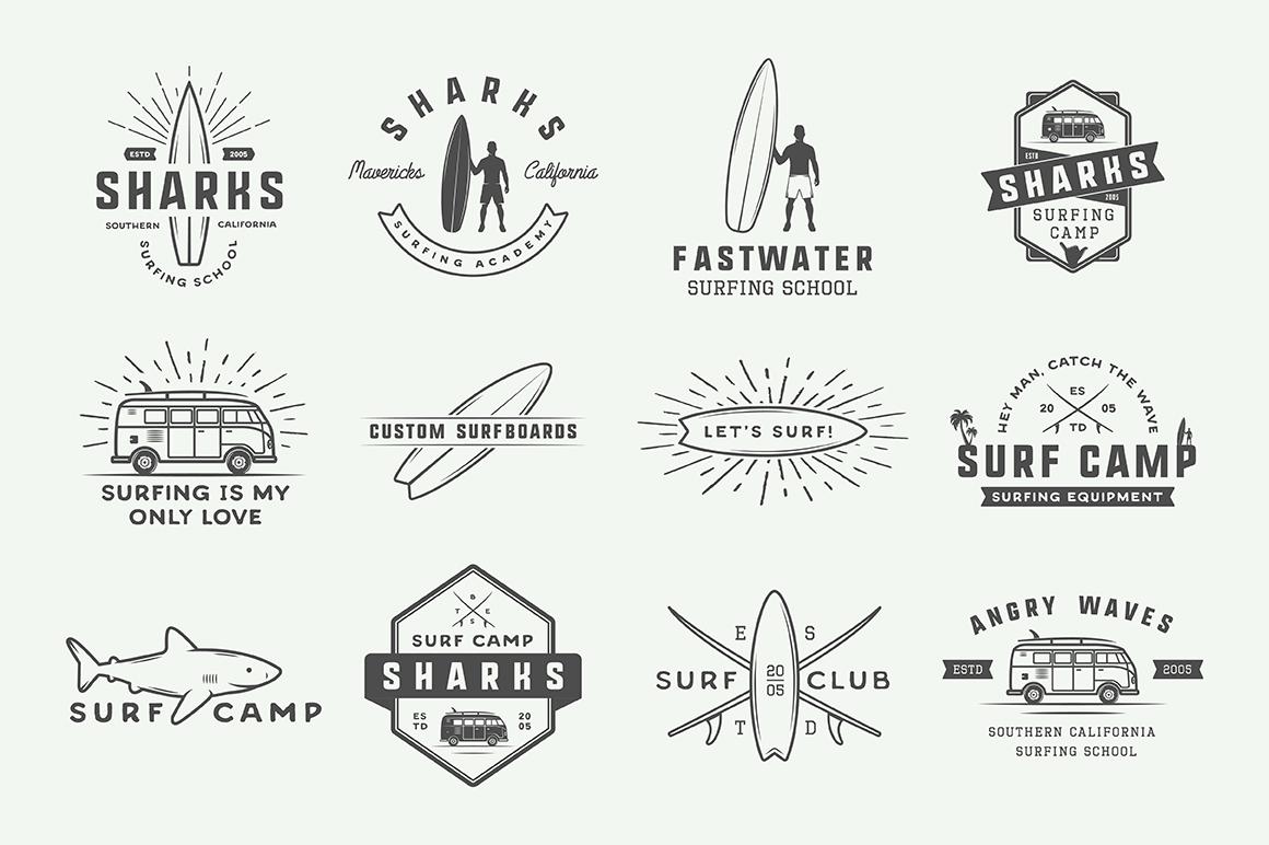 Vintage Surfing Emblems Bundle example image 11
