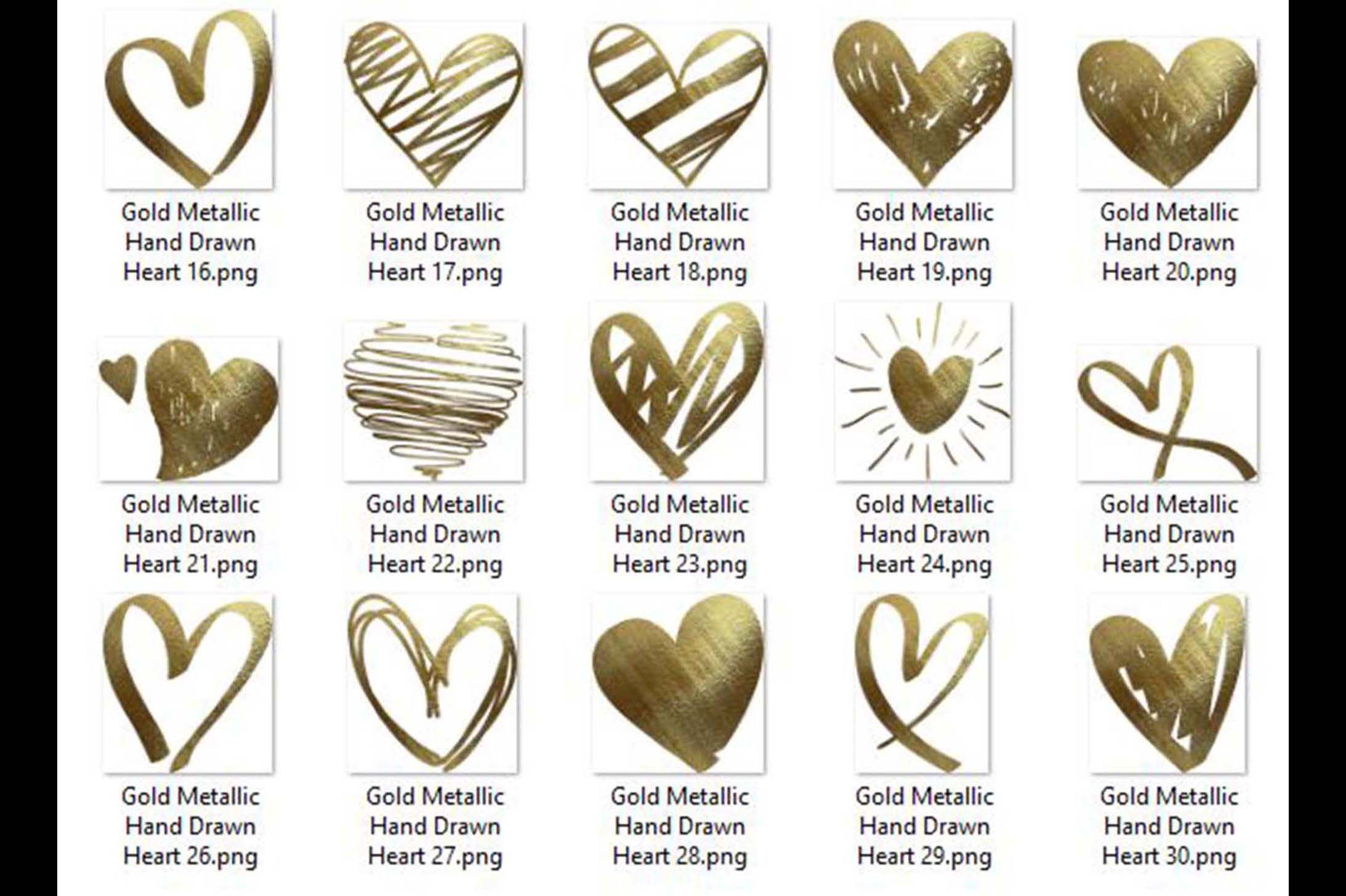 30 Realistic 24k Gold Metallic Hand Drawn Heart Clip Arts example image 6