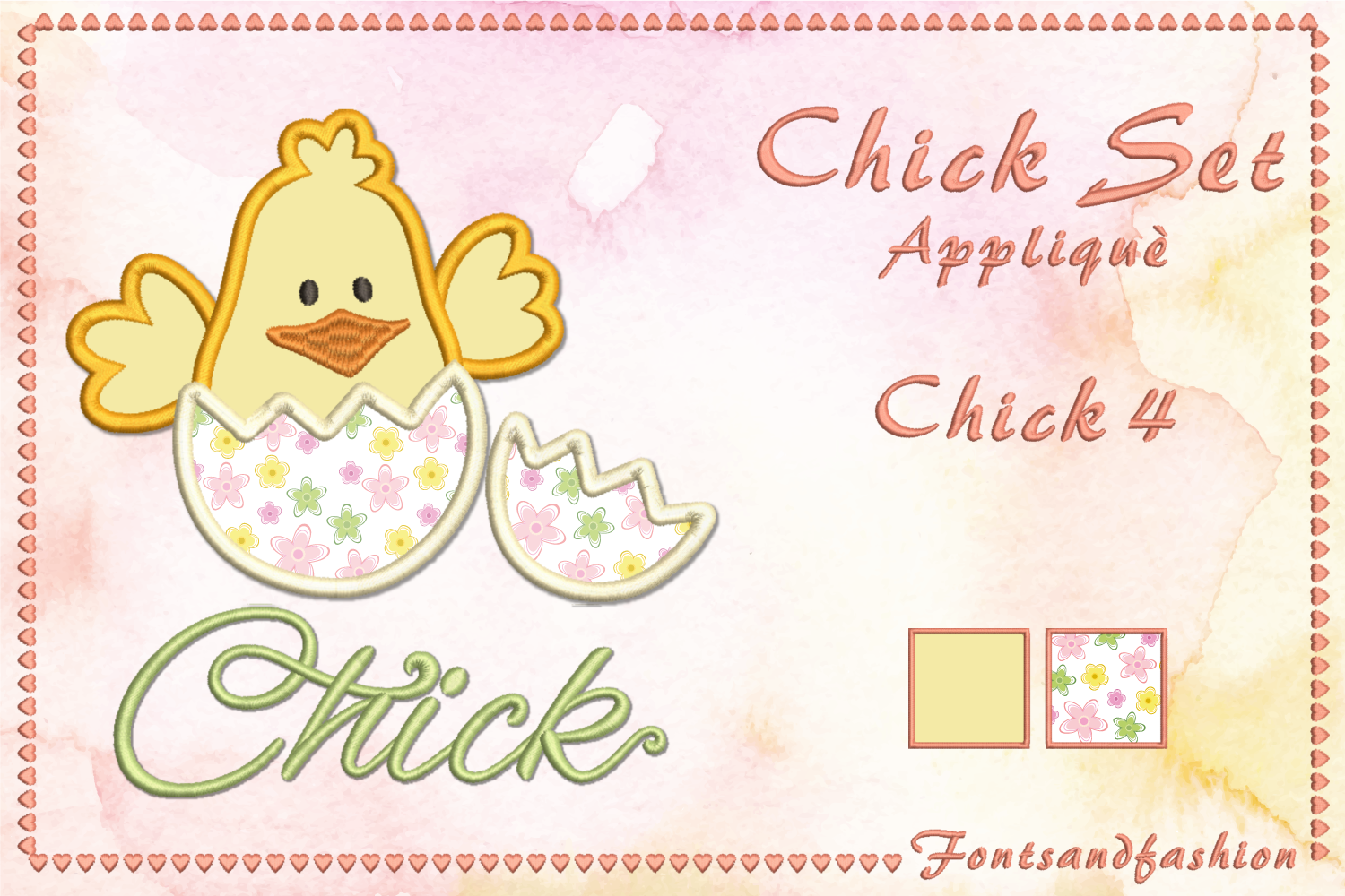 Chick Set_Appliquè example image 9