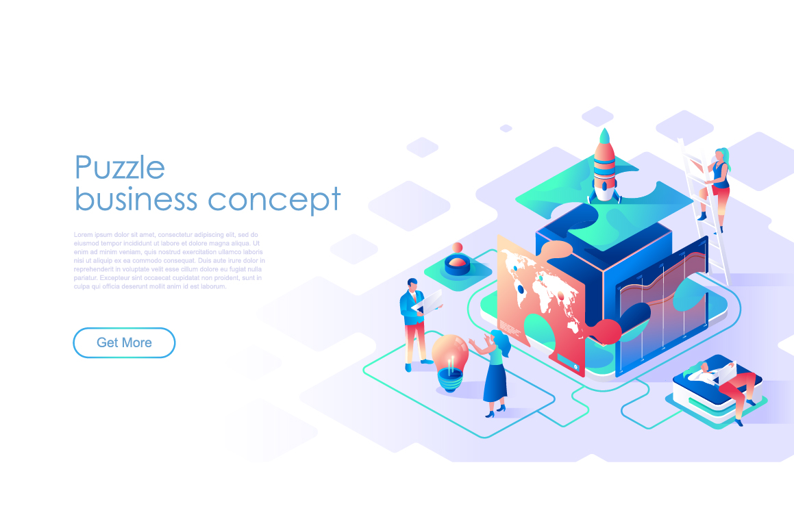 Bundle Isometric Landing Page Template Header example image 9