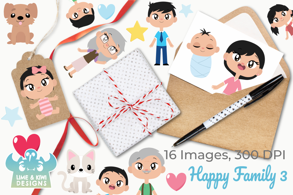 Happy Family 3 Clipart, Instant Download Vector Art example image 4