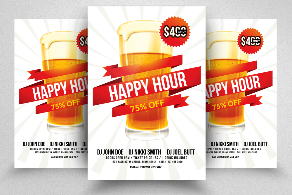 10 Happy Hour Flyer Template Bundle example image 2