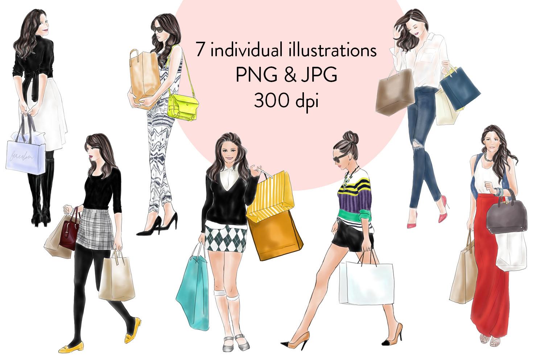 Shopping girls watercolour fashion illustration clipart example image 2