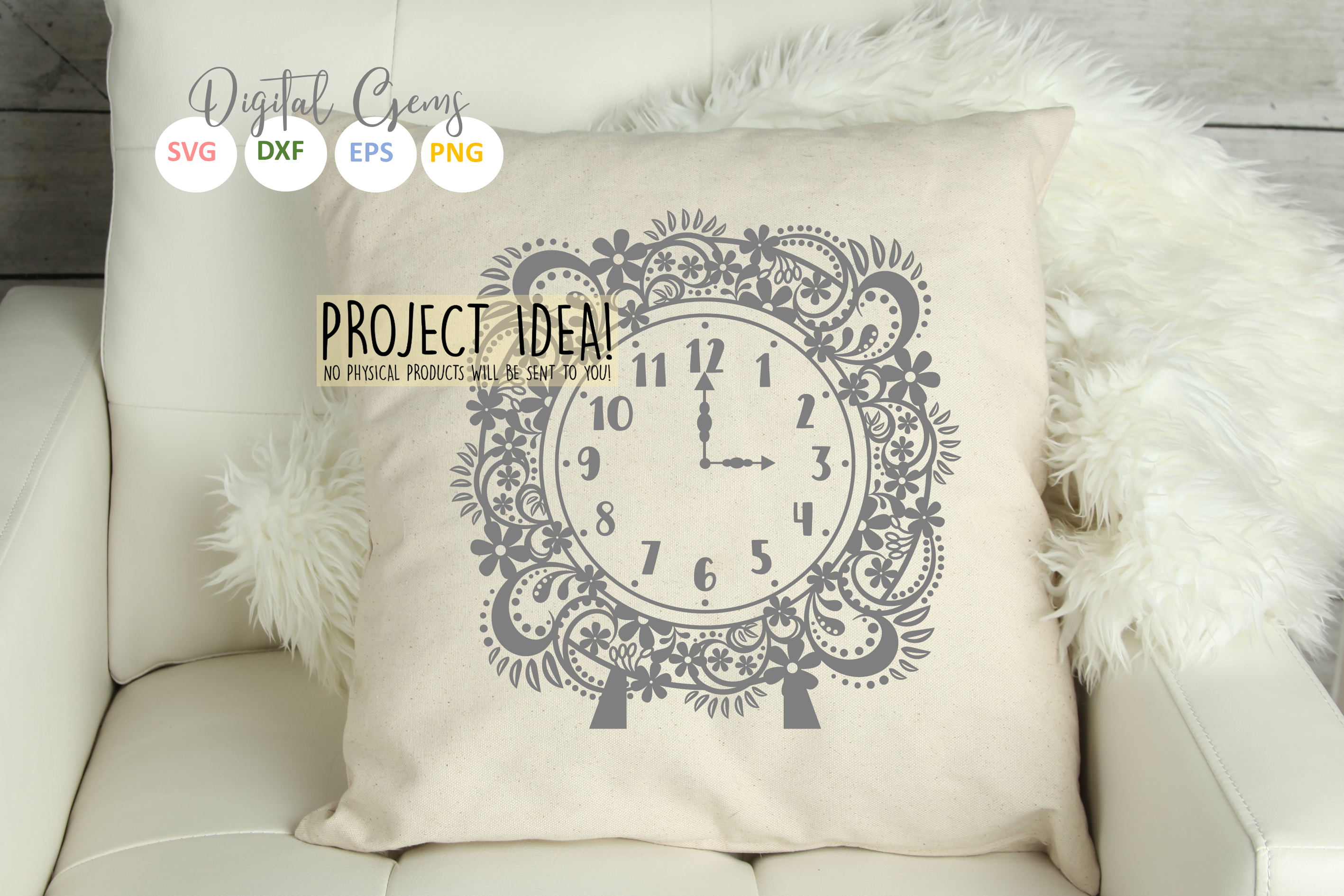 Clock SVG / EPS / DXF / PNG Files example image 4