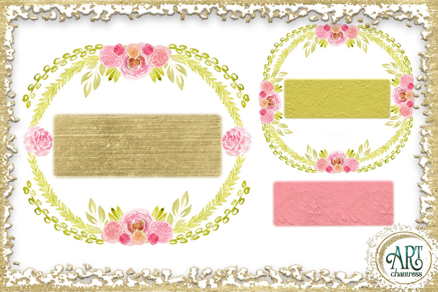 Watercolor Gold Floral Blush pink flower frame - 5 elements example image 2