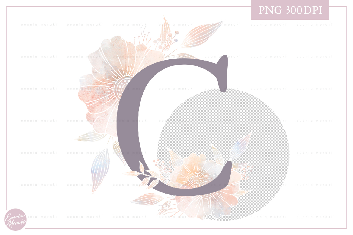 Letter C Floral MONOGRAM - dusty color flower initial example image 2