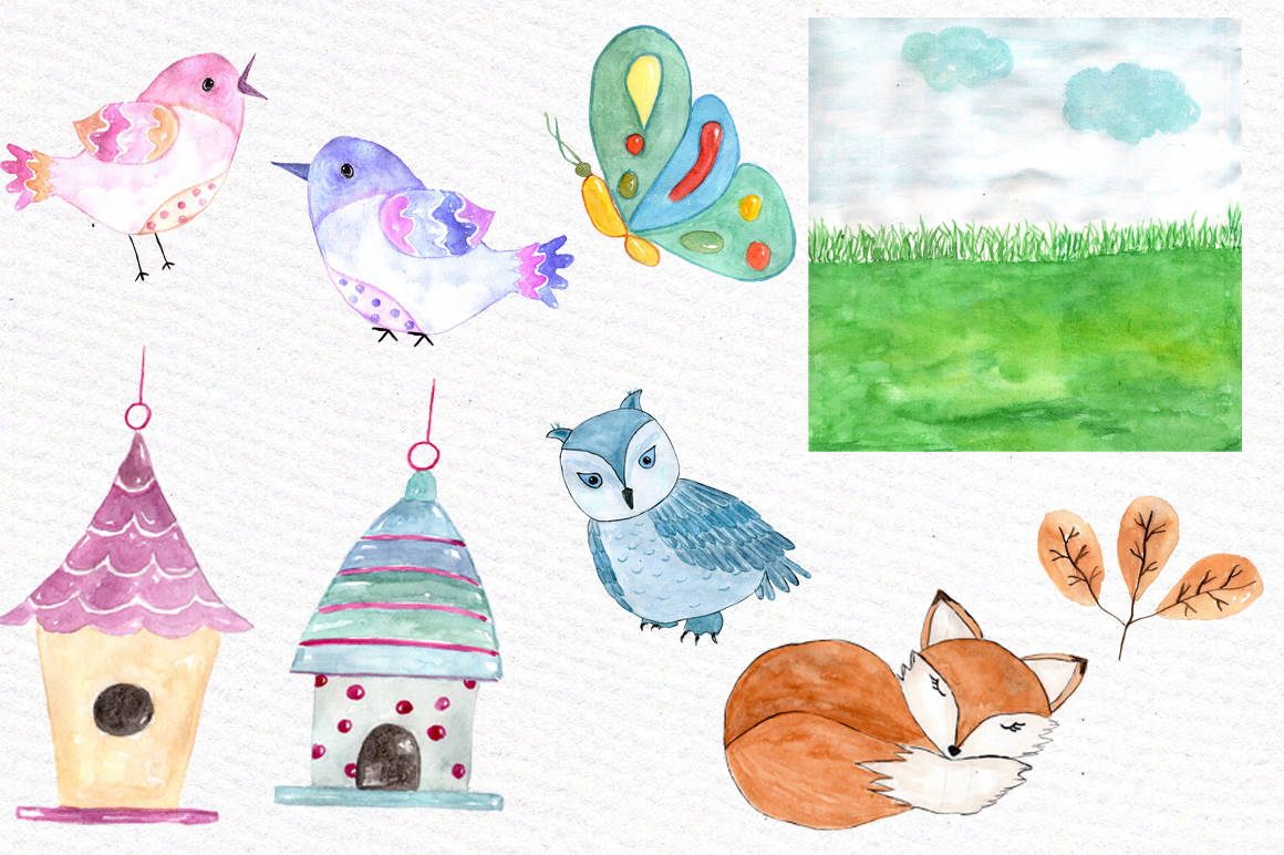 Watercolor forest animals clip art example image 2