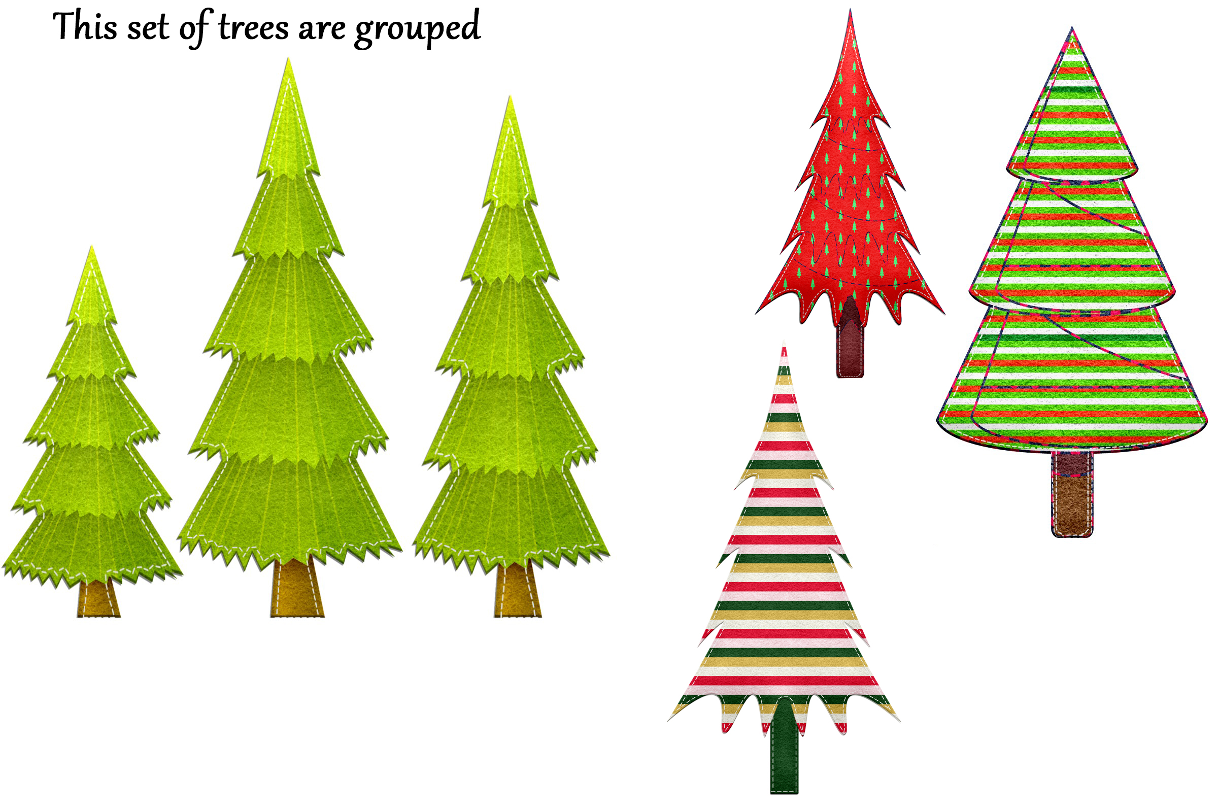 Christmas Felted Trees Clip Art example image 4
