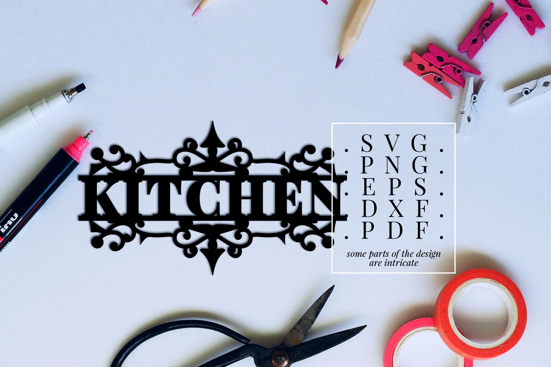 Kitchen Papercut Template, Housewarming Cut File, SVG, DXF example image 2