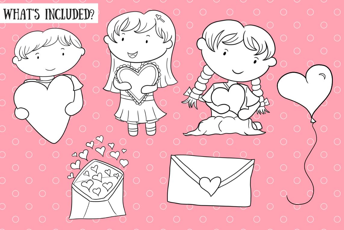 Valentine Kids Digital Stamps example image 2