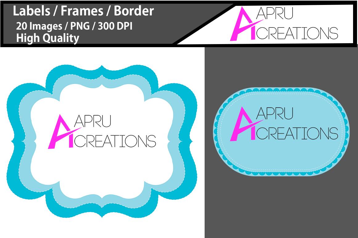digital frames clipart / light blue label vector cut file SVG / label SVG / frames SVG/ border / printable high quality designs / hand drawn frames example image 2