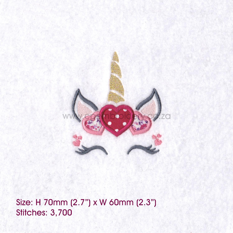 Hearts Unicorn Head Applique Embroidery Design example image 2