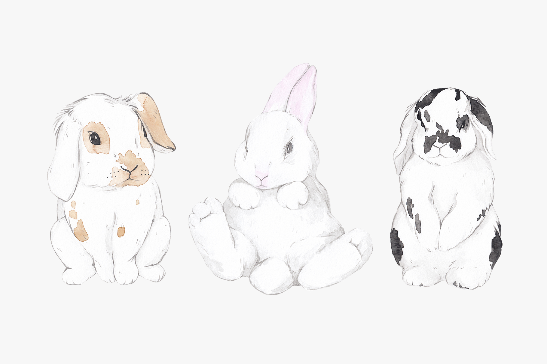 WHY SO CUTE 10 Easter watercolor bunnies example image 2