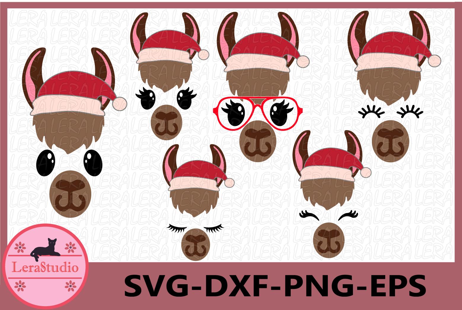 Llama SVG, Llama Christmas Svg, Eyelashes face Svg,Christmas example image 1