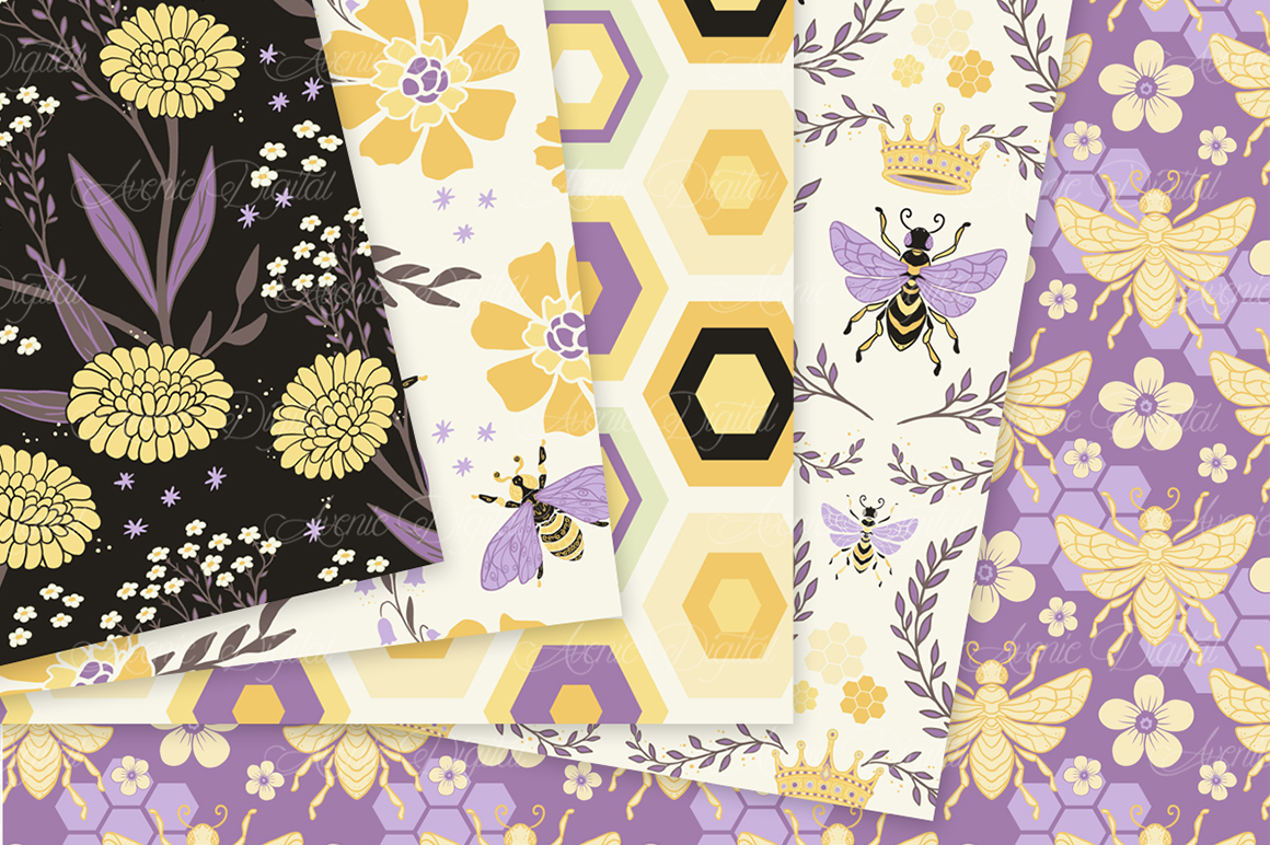 Yellow and Purple Bee Garden Seamless Vector Patterns and Di example image 3
