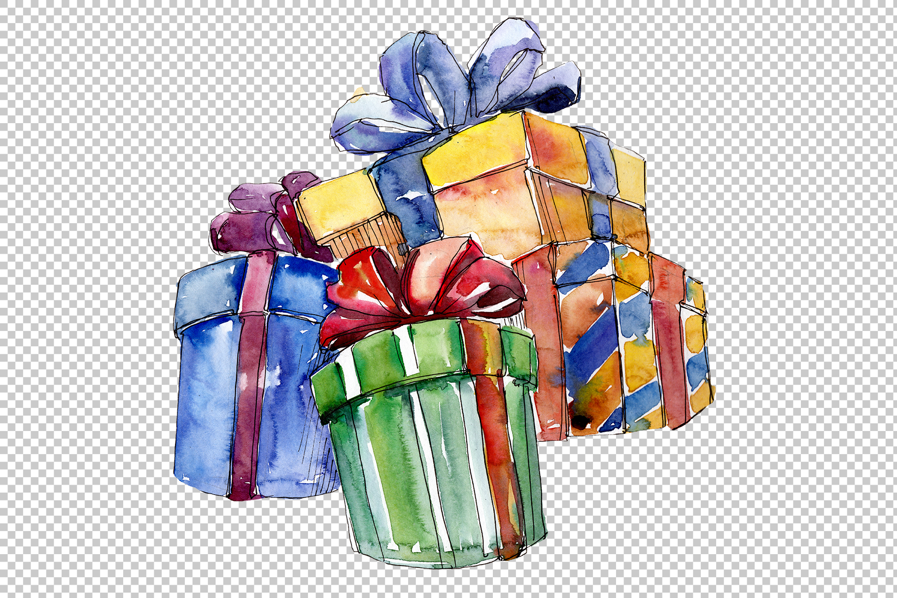 Christmas gift PNG watercolor set example image 3