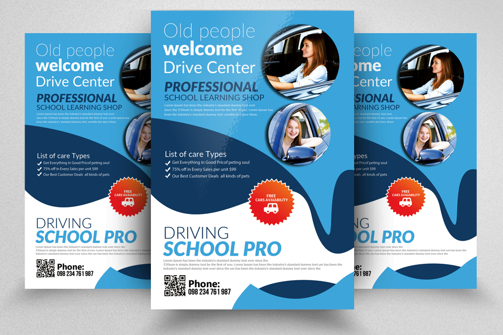 Driving  School Flyer Templates example image 1