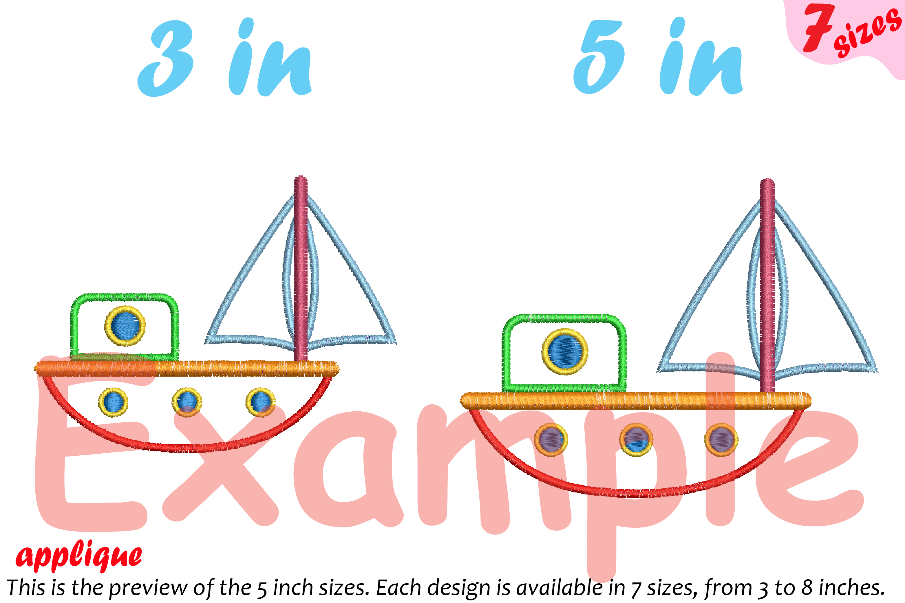 Sailboat Toy Applique Designs for Embroidery Machine Instant Download Commercial Use symbol outline cartoon boat toys yacht ship 19a example image 3