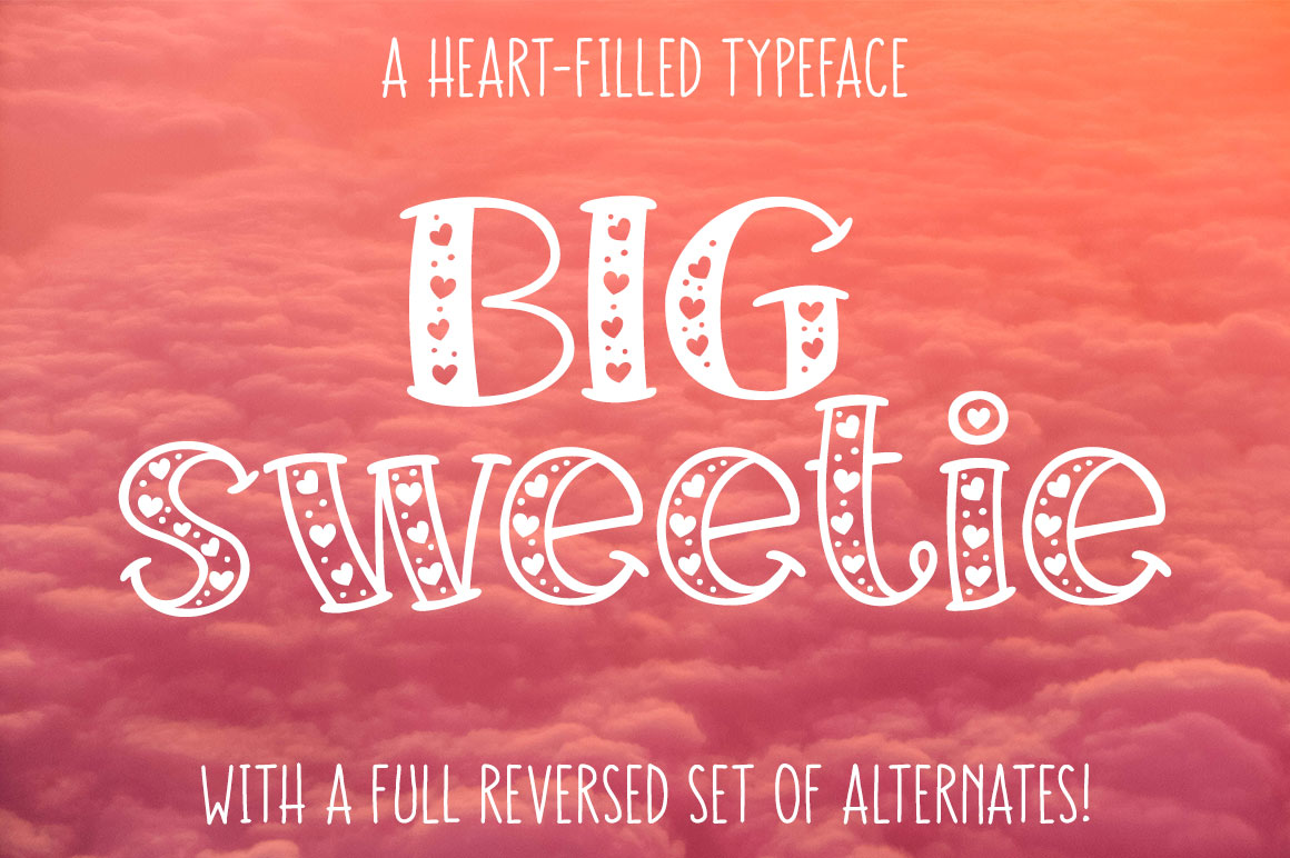 Big Sweetie - font filled with hearts