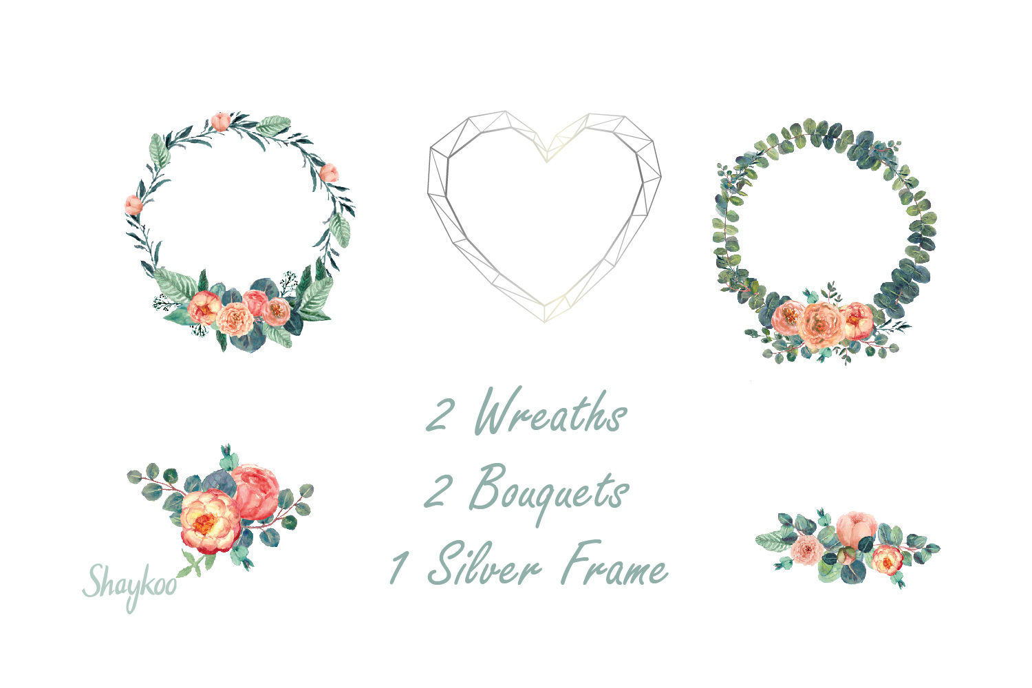 Blush Peony and Eucalyptus Watercolor Clipart Wedding Invite example image 4