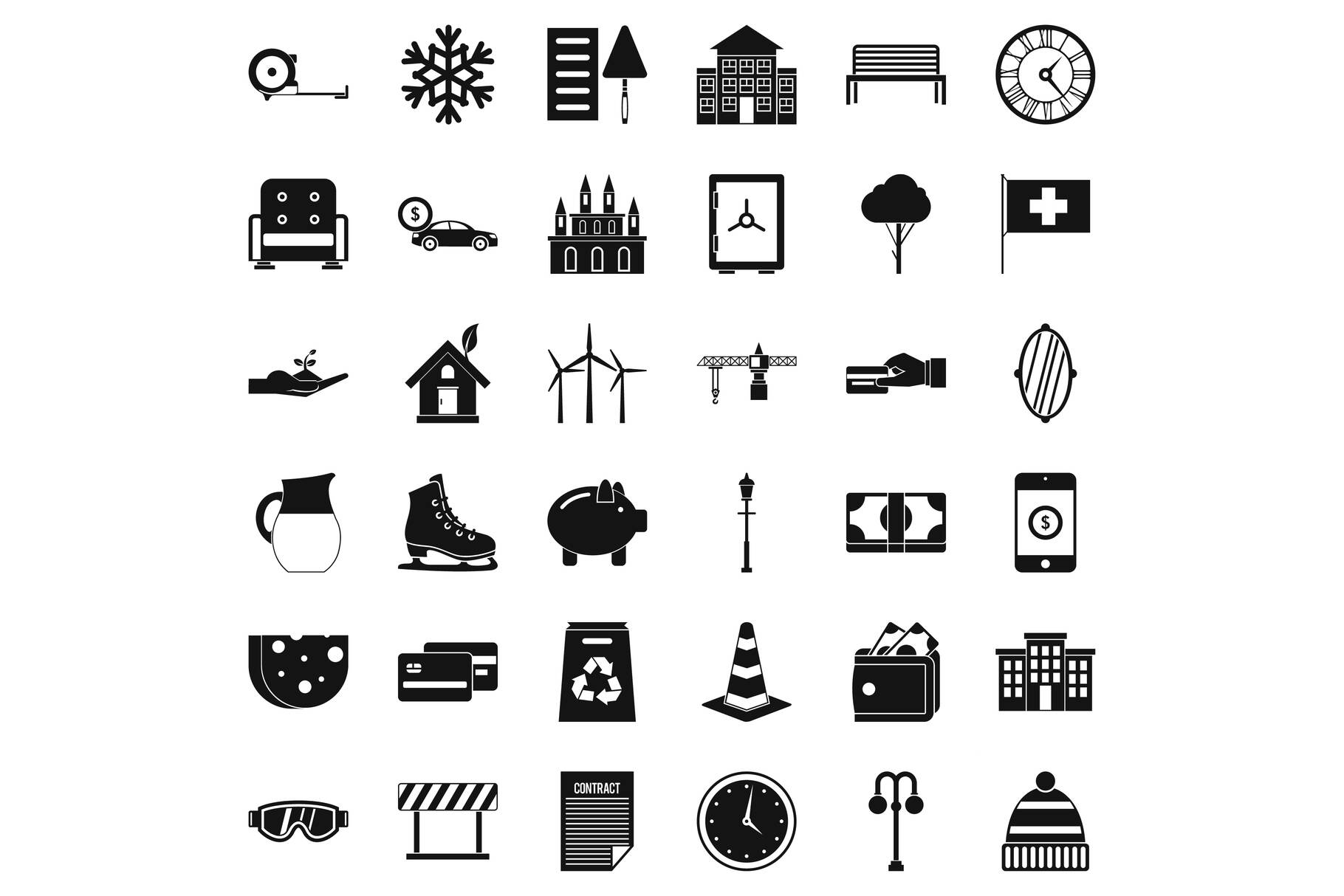 Villa for rest icons set, simple style example image 1
