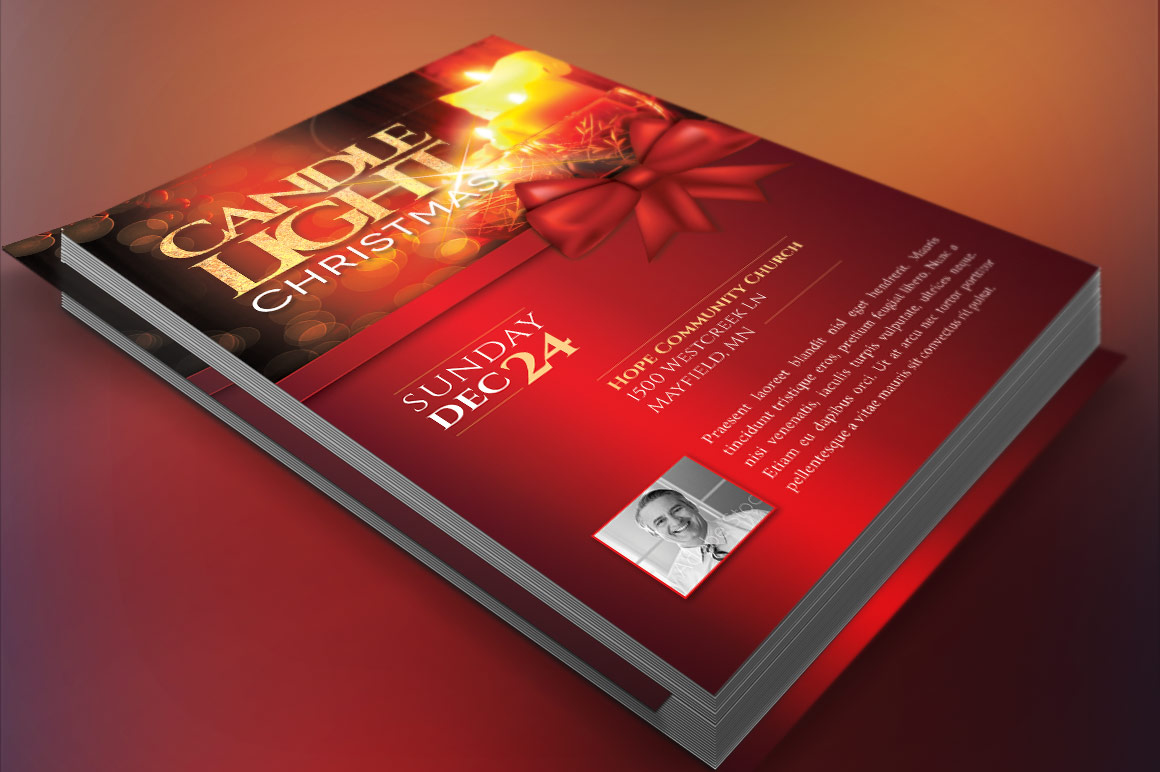 Christmas Candle Light Flyer Poster Template example image 4