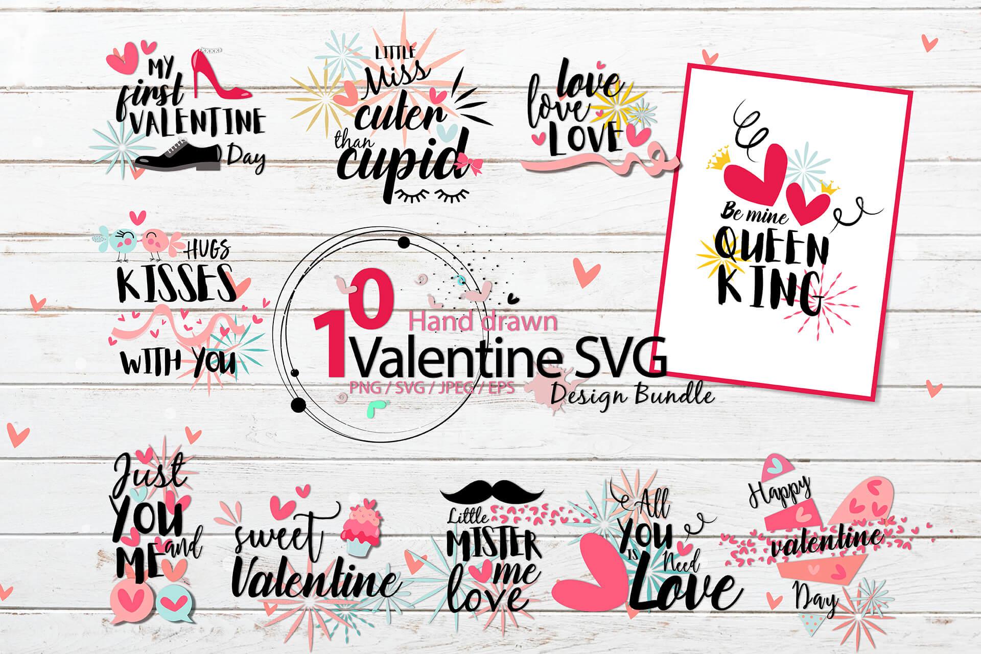 Hand drawn Valentine SVG Design Bundle example image 1