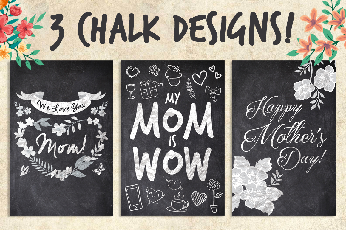 3 Chalk Mother's Day Cards example image 1