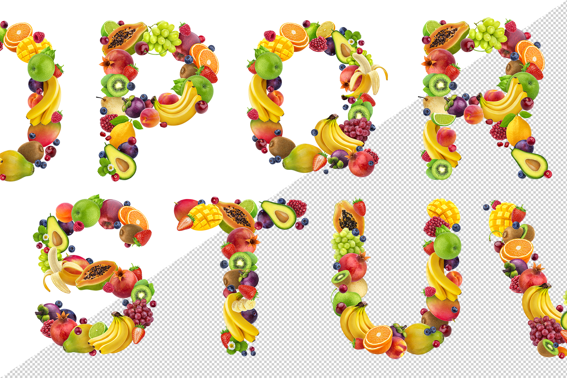 Fruits and berries alphabet, healthy alphabet example image 5