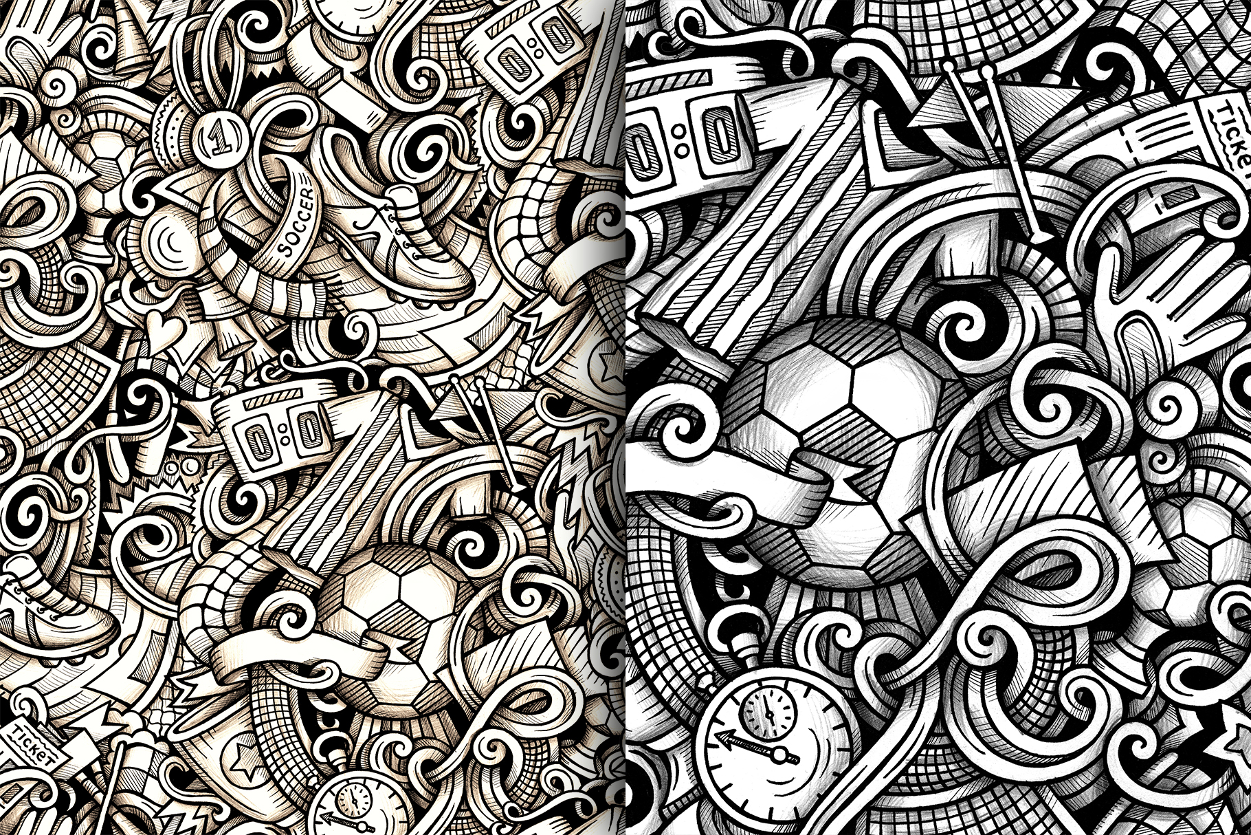 Soccer Graphic Doodle Patterns example image 4