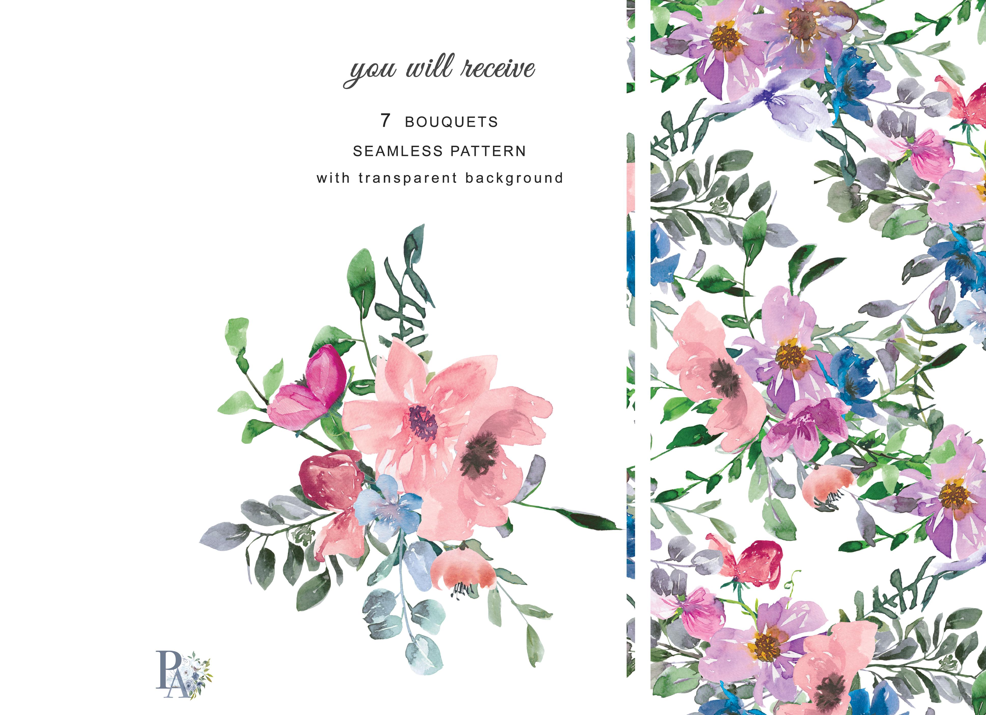 Watercolor Blush Pink Purple Blue Pink Flowers Clipart