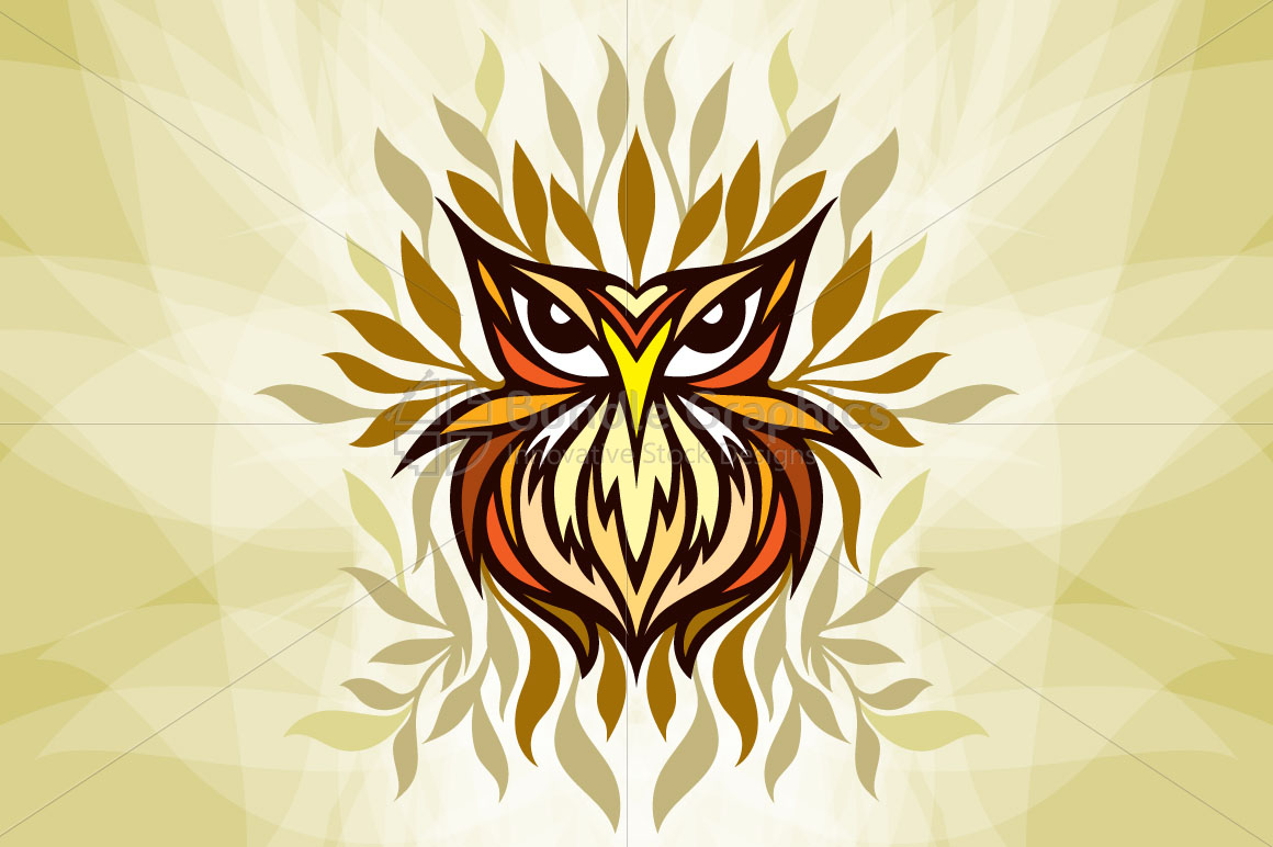 Staring Owl - Creative Tribal Style Mirror Graphic of Bird  example image 1