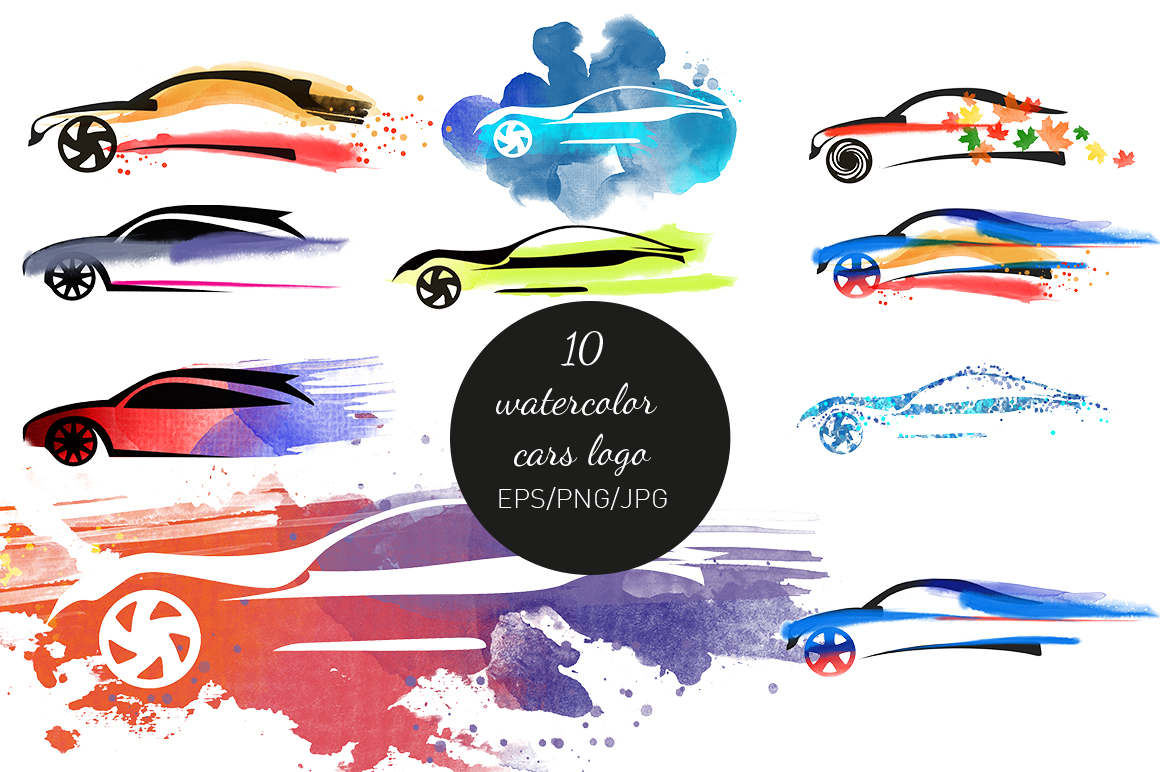 Watercolor cars logo example image 2
