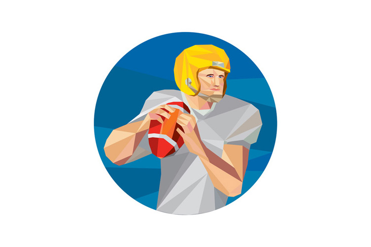 American Football Quarterback QB Low Polygon example image 1