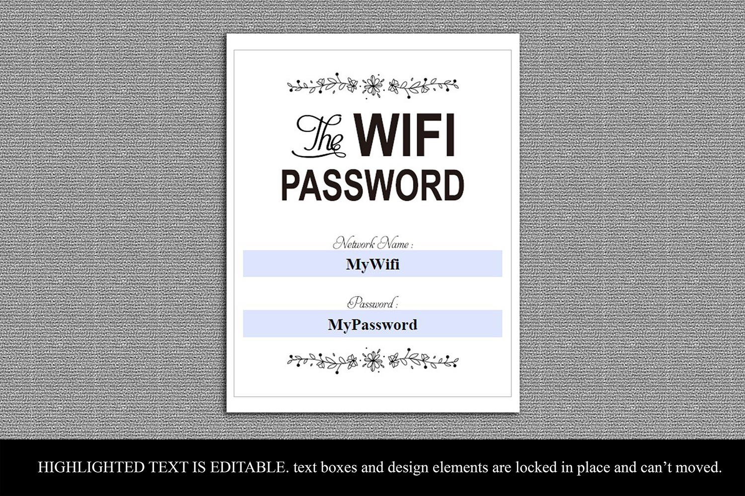 photo relating to Password Printable titled Printable WIFI Pword Indication, Wifi pword printable,Father_11