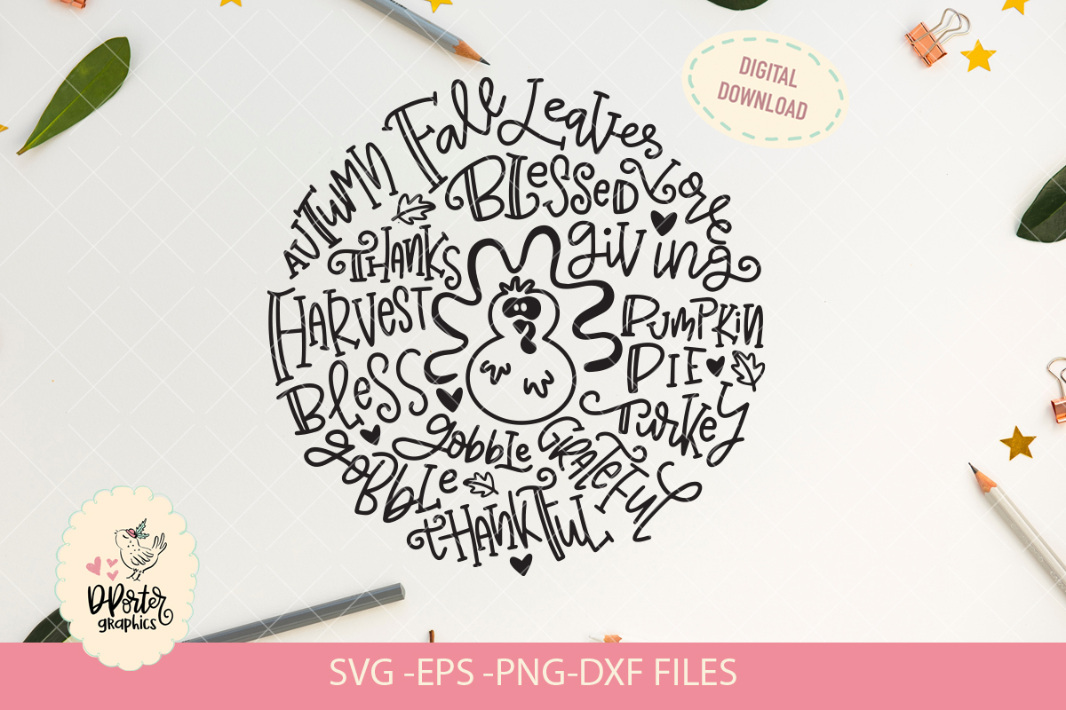 Thanksgiving typography svg, fall season svg example image 2