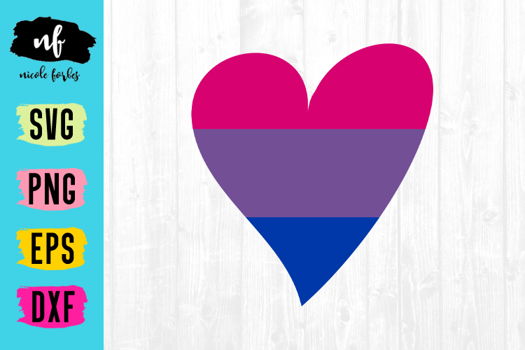 Bisexual Pride Heart SVG Cut File example image 1