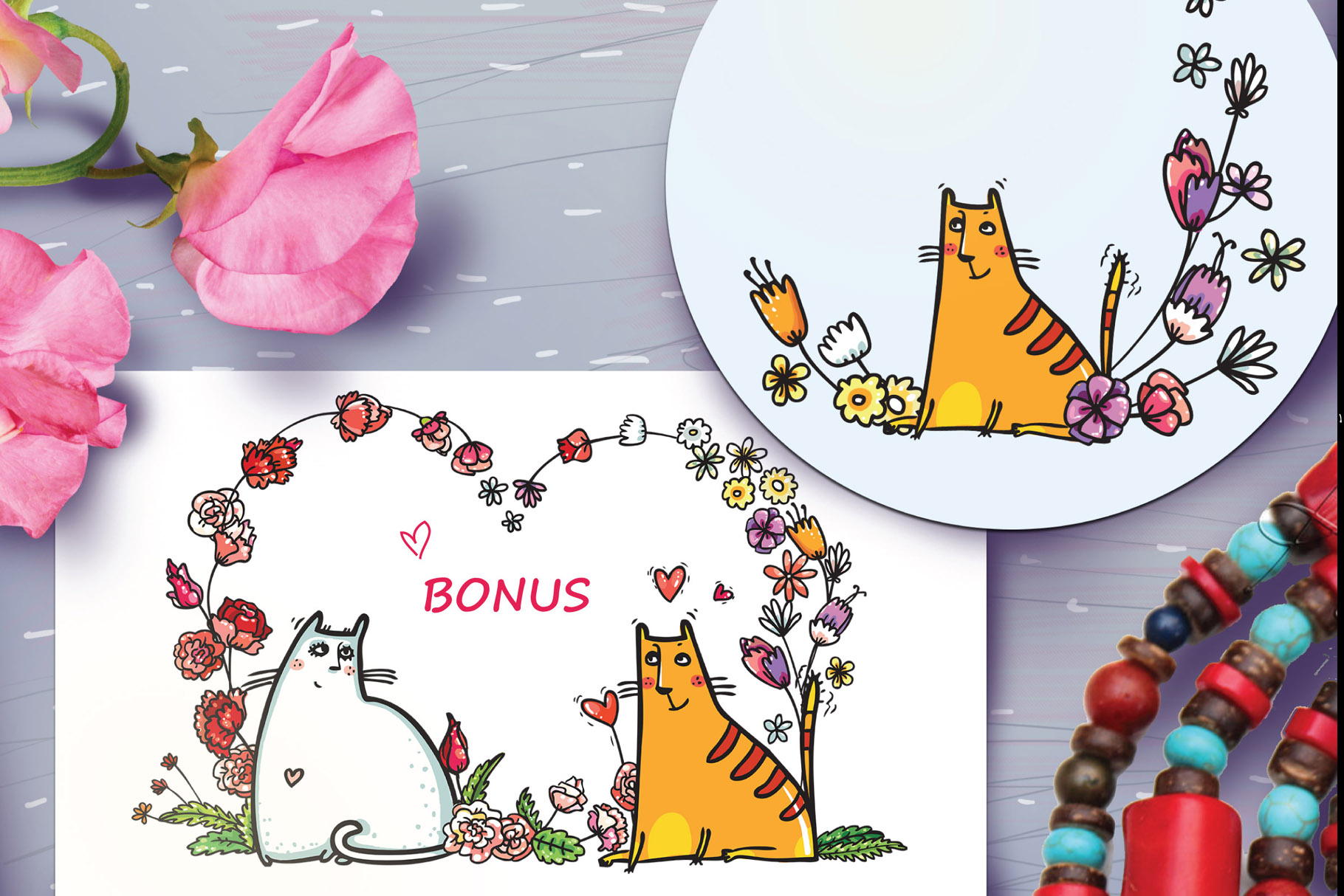 Saint Valentine's Cats - patterns, frames example image 13