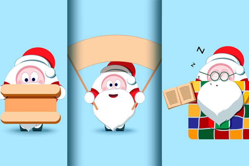Santa Claus Christmas character set of 17 illustrations example image 4