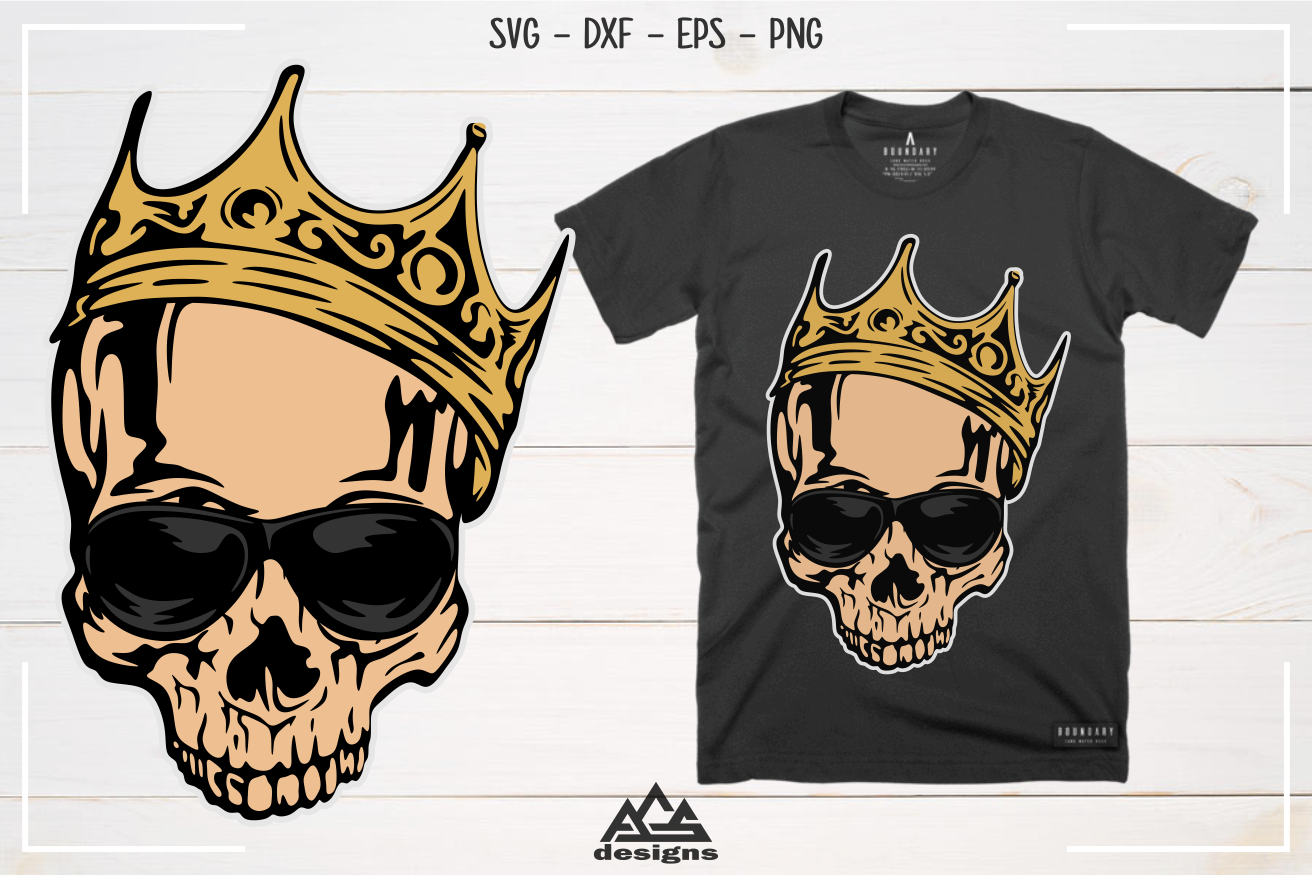 Hipster Skull with Crown Svg Design example image 3
