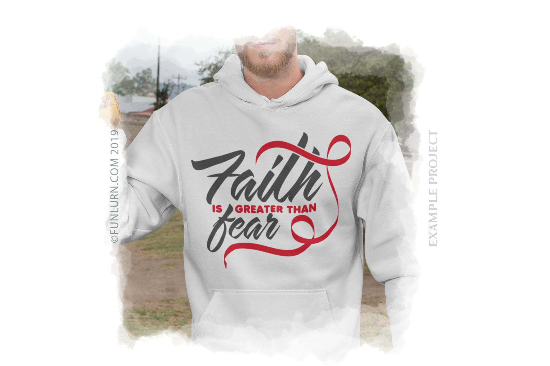 Faith is Greater Than Fear Red Ribbon SVG Cut File example image 3