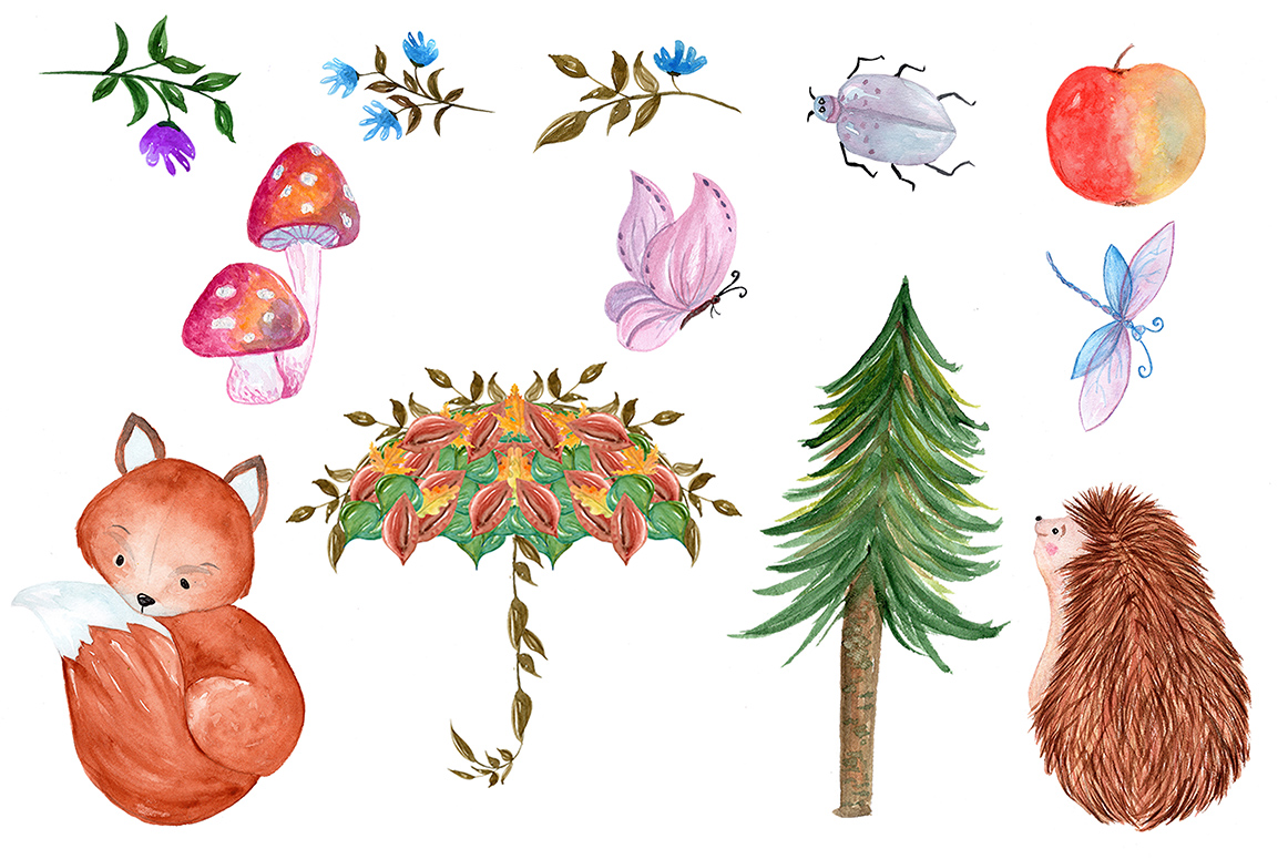 Woodland animals clipart example image 3